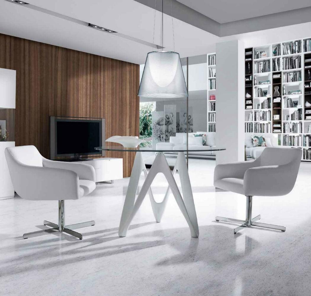 Mesa comedor redonda y ovalada cristal templado base en fibra de bidrio lacado blanco - Mesas de comedor modernas de cristal ...