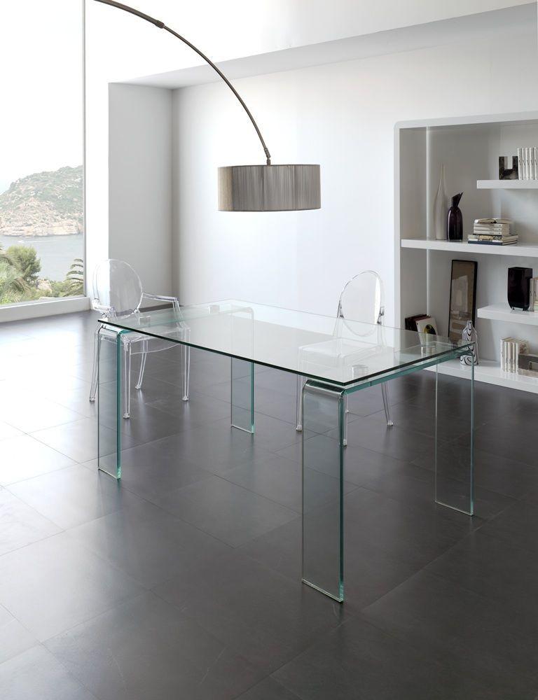 Mesa comedor cristal transparente moderna dise o alta - Mesa comedor moderna ...