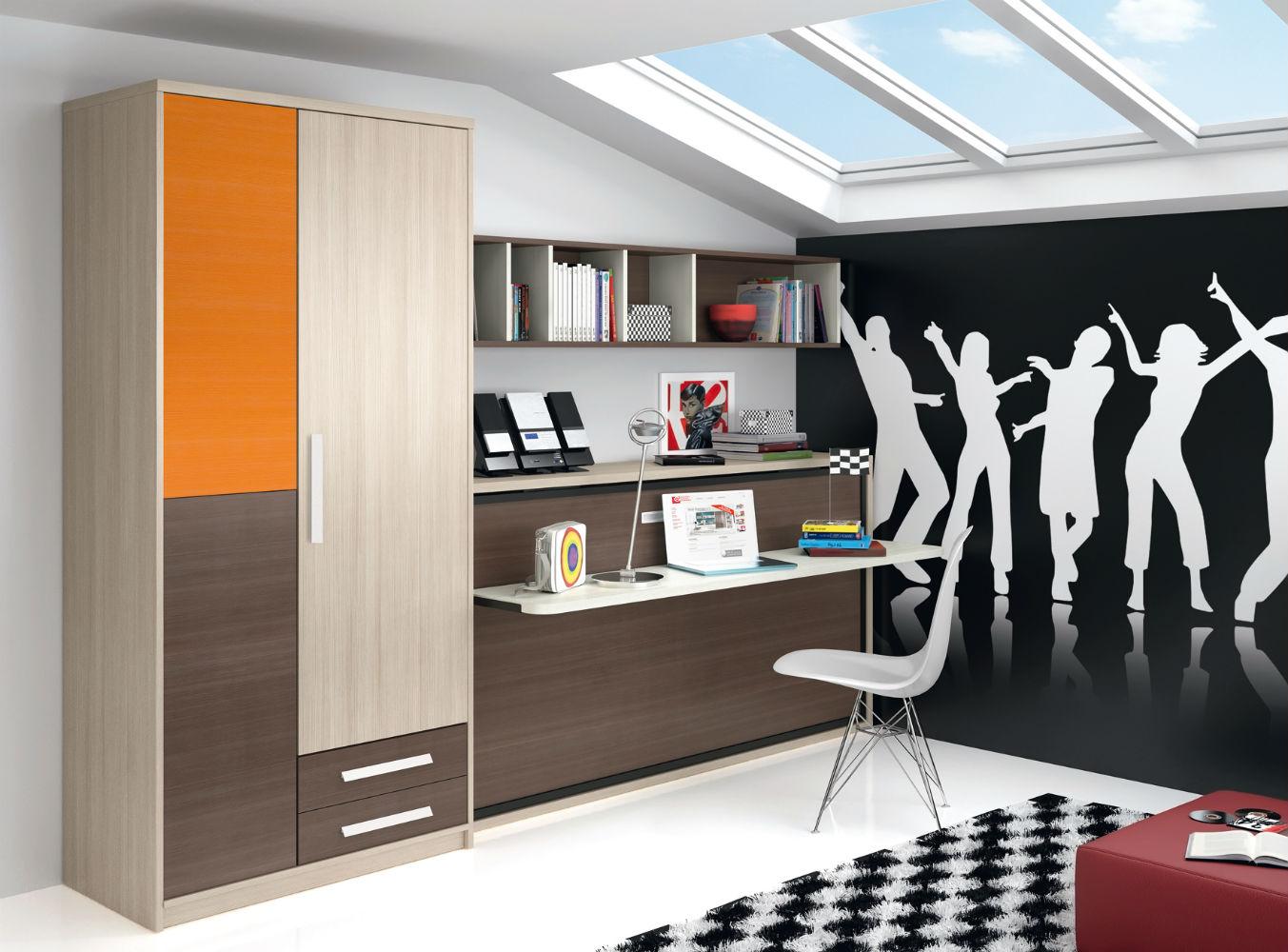 Dormitorio infantil juvenil moderno literas abatibles 69 f215 for Dormitorio juvenil cama abatible