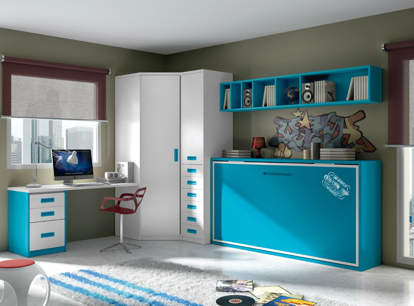 Dormitorio infantil juvenil moderno literas abatibles 69 f216 for Dormitorio juvenil cama alta