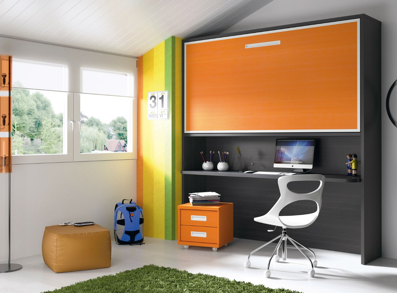Dormitorio infantil juvenil moderno literas abatibles 69 f217 - Habitacion cama abatible ...