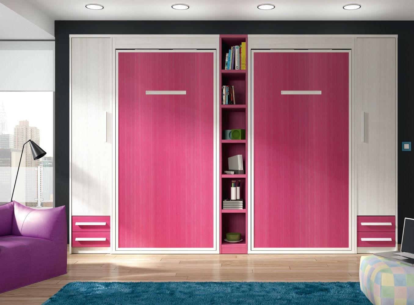 dormitorios juveniles con camas abatibles, tono natural y rosa