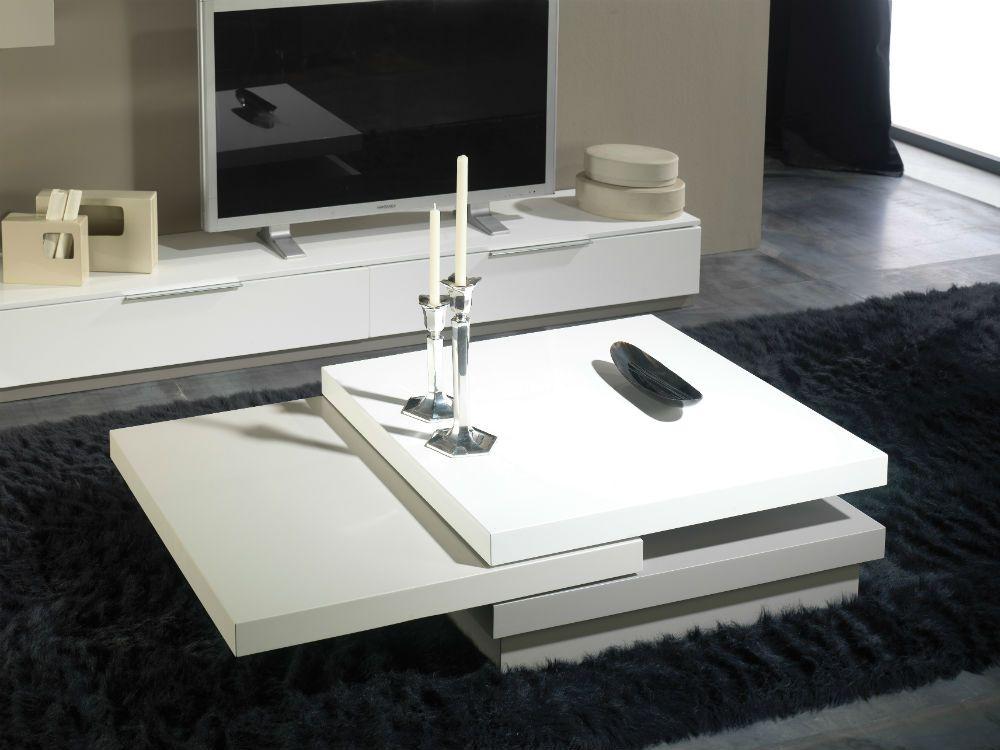 Mesa de centro moderna lacado 393 diana blanco negro - Mesas para salones ...