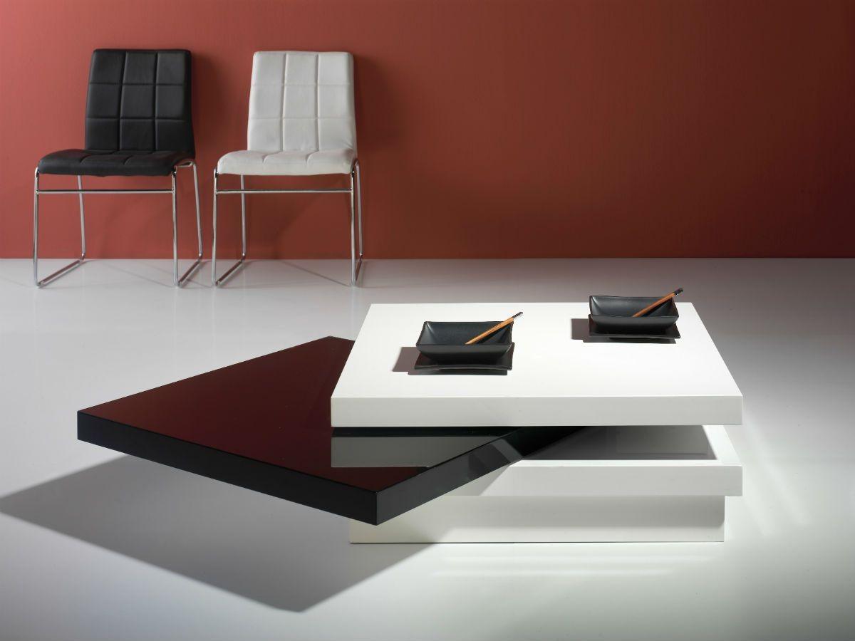 Mesa de centro moderna lacado 393 diana blanco negro for Mesas esquineras modernas