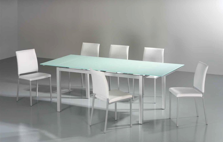 Mesa cocina cristal metalica y sillas for Mesa cocina cristal