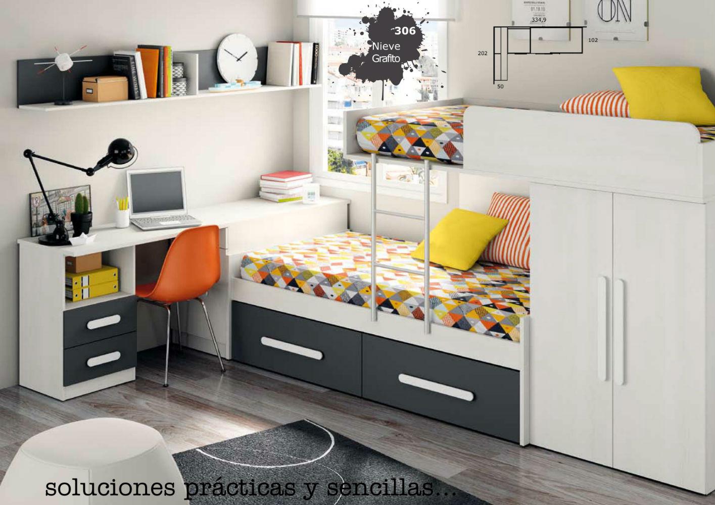Litera tren mueble dormitorio infantil juvenil completo for Muebles dormitorio infantil juvenil
