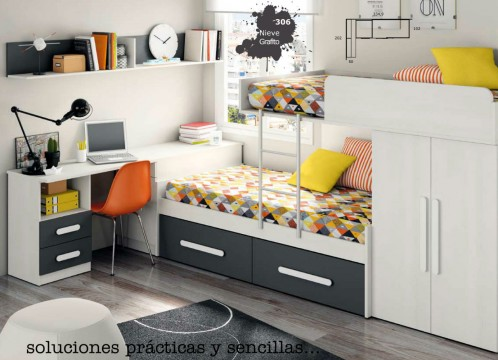 Litera tren mueble dormitorio infantil juvenil completo - Muebles tren infantil ...