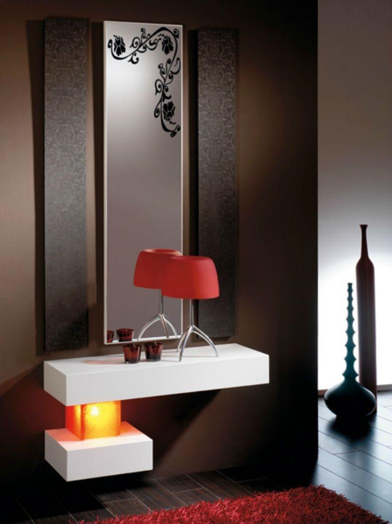 Recibidor moderno madera lacado muebles valencia for Mueble recibidor madera