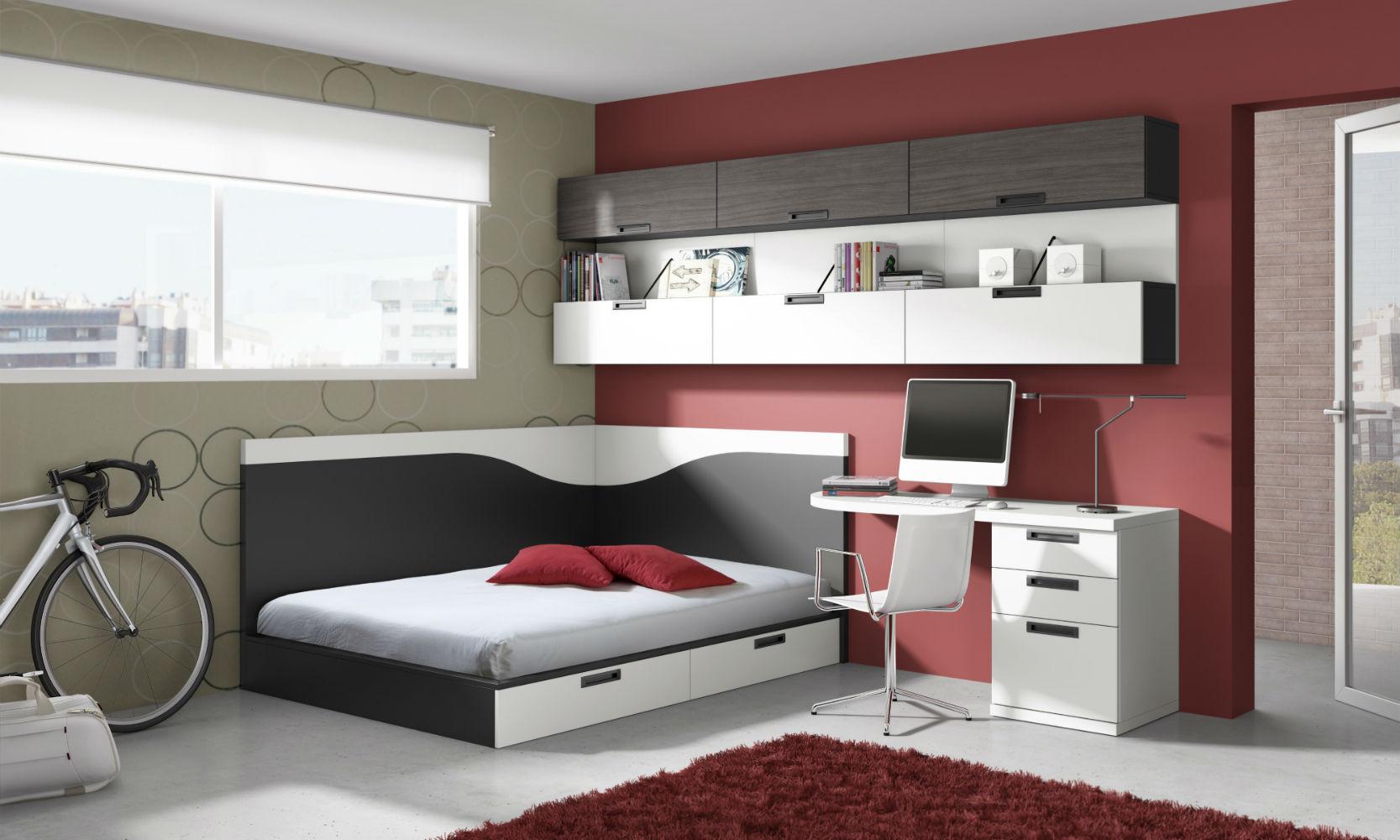 Dormitorio juvenil infantil moderno 1194 101 muebles valencia for Muebles juveniles modernos