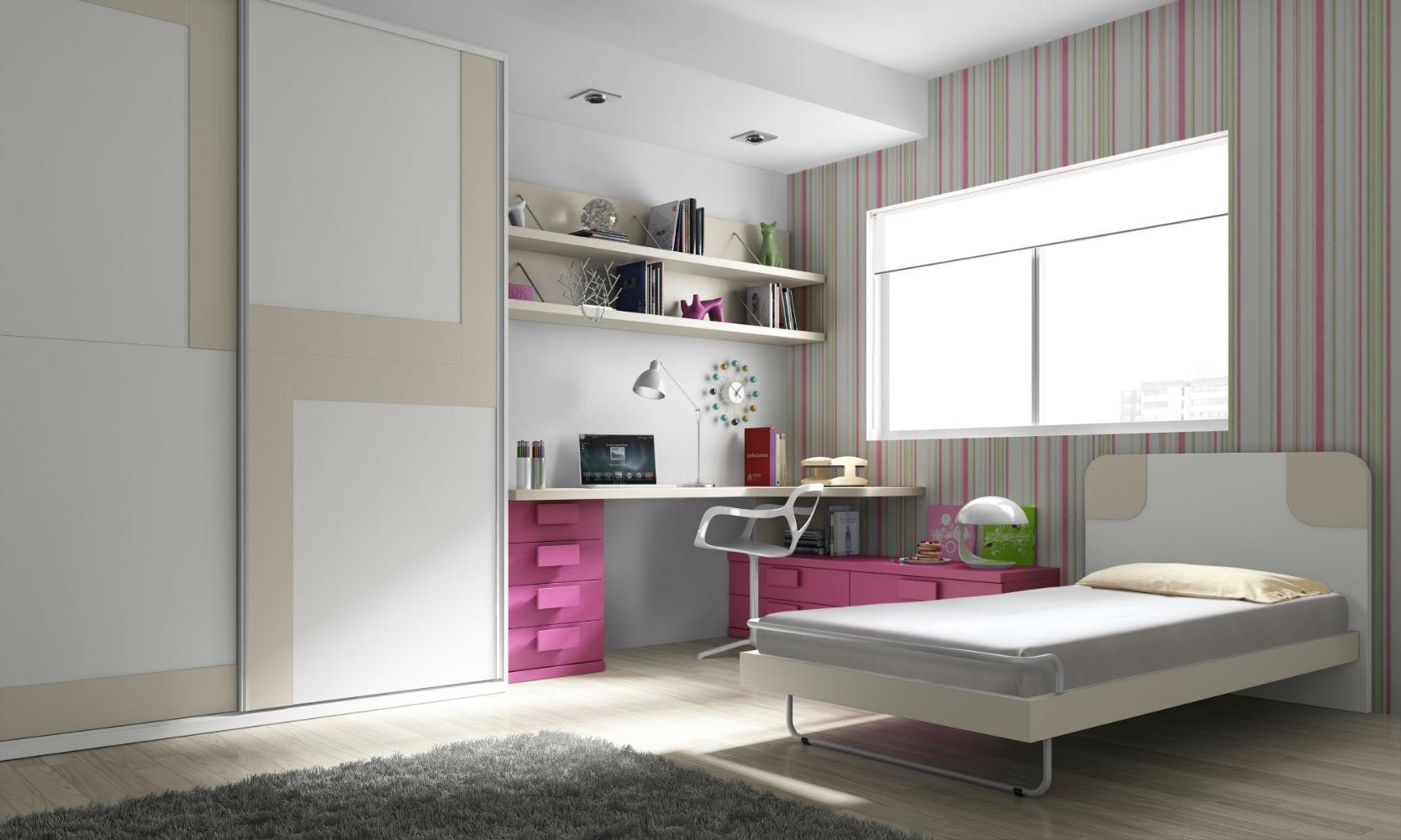 Dormitorio juvenil infantil moderno color roble blanco for Muebles dormitorio infantil juvenil