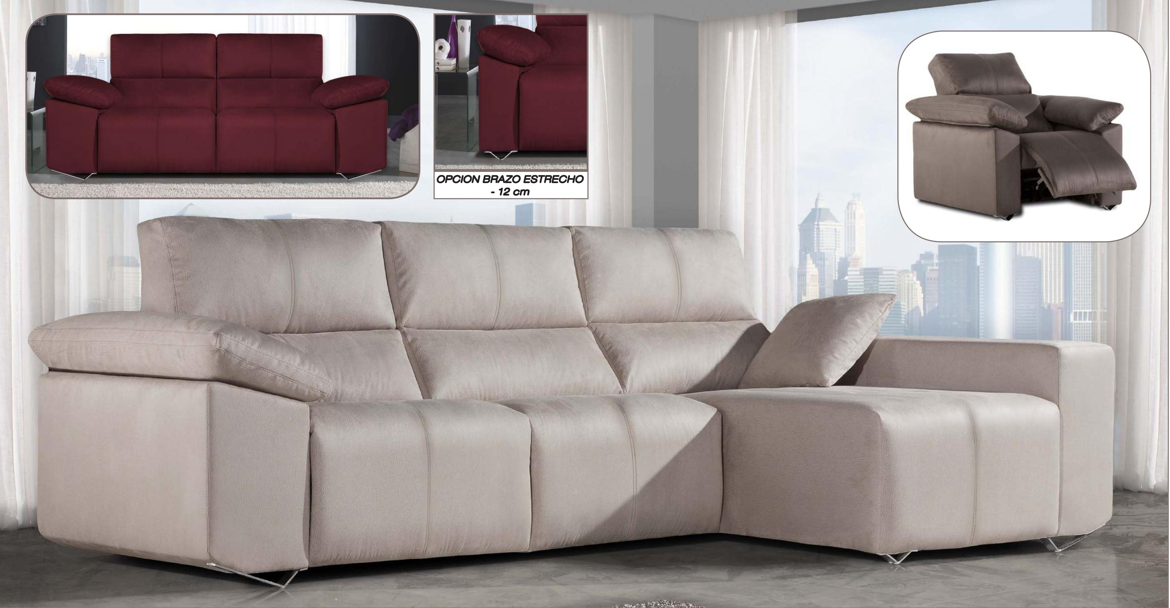 Sofa 3 plazas relax motor chaise longue moderno mobles for Sillones chaise longue