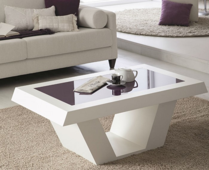 Mesa de centro elevable minimalista blanco con cristal - Mesas de madera modernas ...