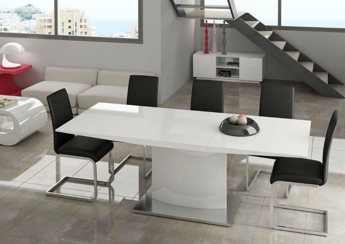 Mesacomedor moderna dise o metalica muebles valencia for Mesa comedor blanco brillo