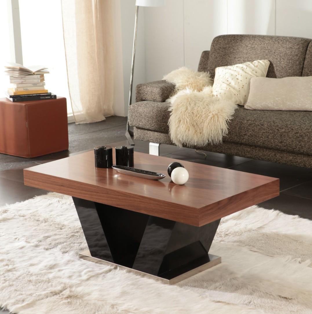 Mesa de centro moderna en negro y nogal mobles sedav for Mesas de centro rusticas baratas