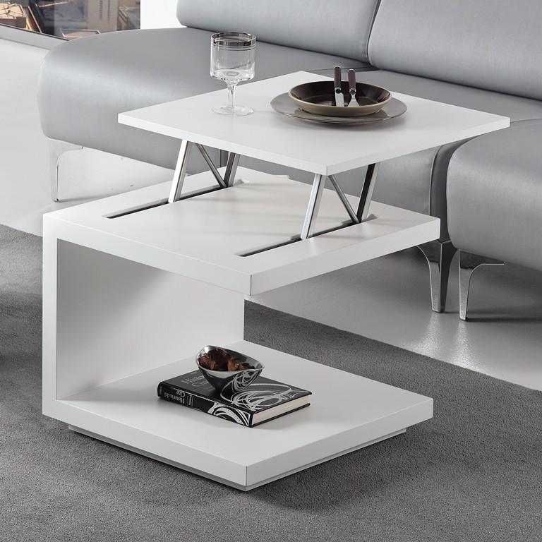 Mesa rincon centro elevable blanco 194 0460 mobles sedav - Mesas auxiliares modernas ...