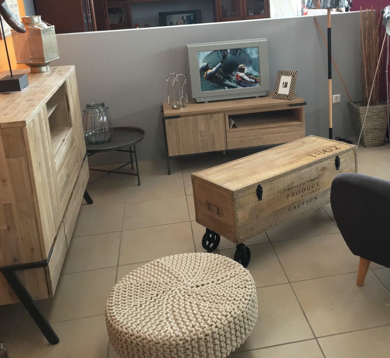 Baul vintage industrial de madera de acacia mobles sedav for Mueble tv vintage industrial