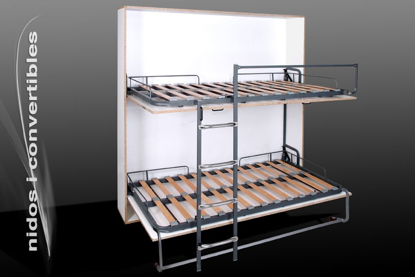 Cama abatible doble camas abatibles nidos for Mueble cama doble