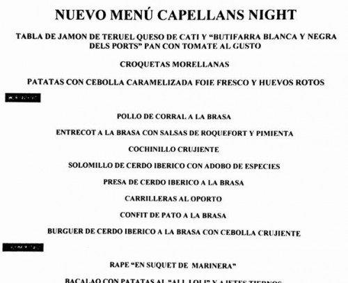 menu capellans night