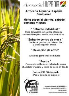Menú Arrocería Hispania Beniparrell