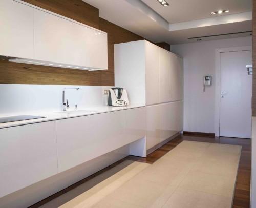 Zona de muebles bajos al aire con electrodomésticos integrados