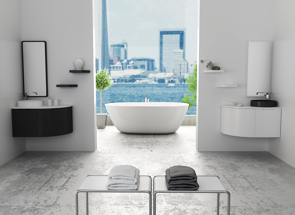 Mueble de baño curvo serie FLAT