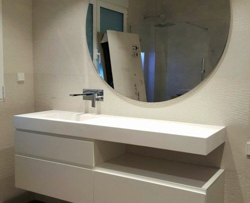Combinación Mueble Lacado con lavabo de Solid Surface