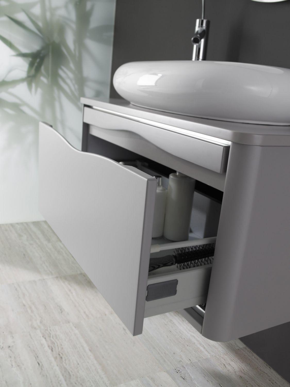 Conjunto thais uno 80 gris cemento 1 caj n lavabo gea - Muebles de lavabo a medida ...