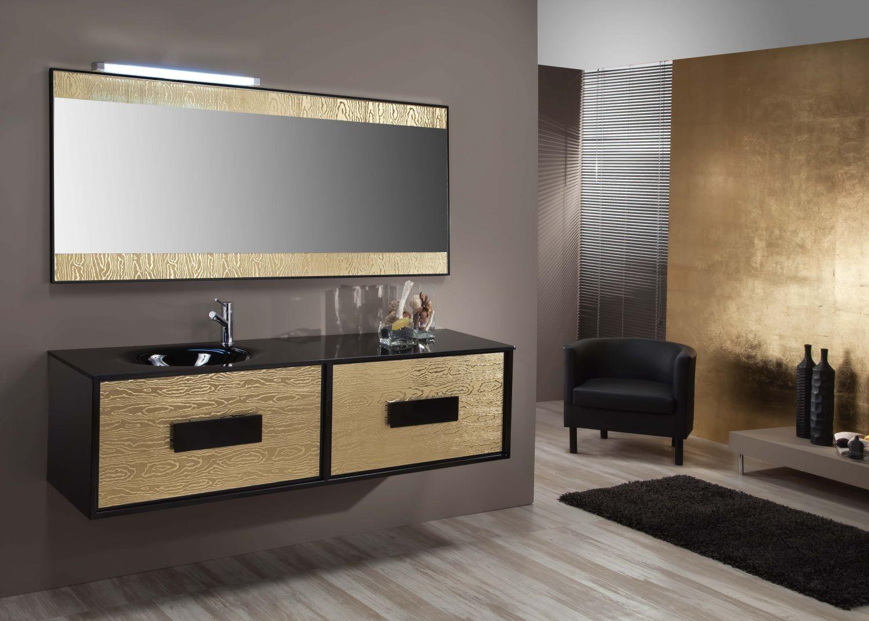 Iluminacion Baño Lux:Conjunto KIOS 160 cm NEGRO-LUXE ORO :: KIOS :: Mobiliario Baño