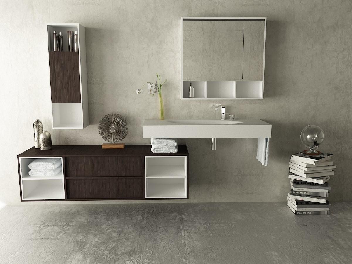 Mueble sun lavabo corian sun for Mueble bajo lavabo carrefour