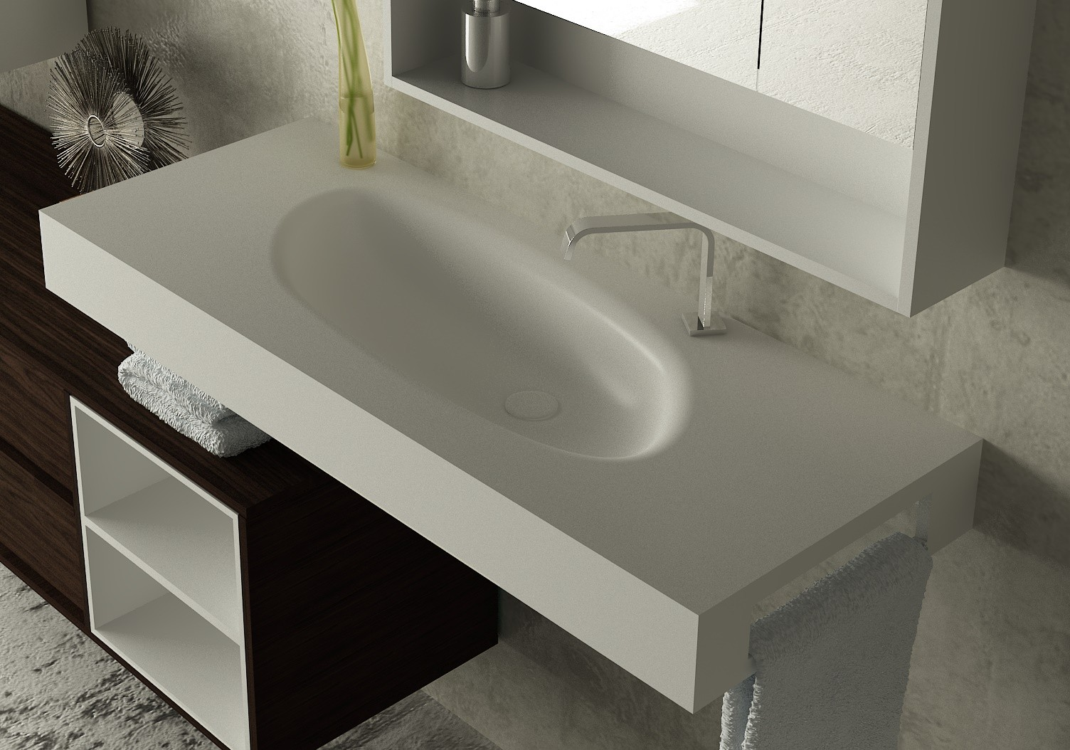 Lavabo sun plus corian lavabos lavabos fabricados completamente a medida - Lavabos a medida ...