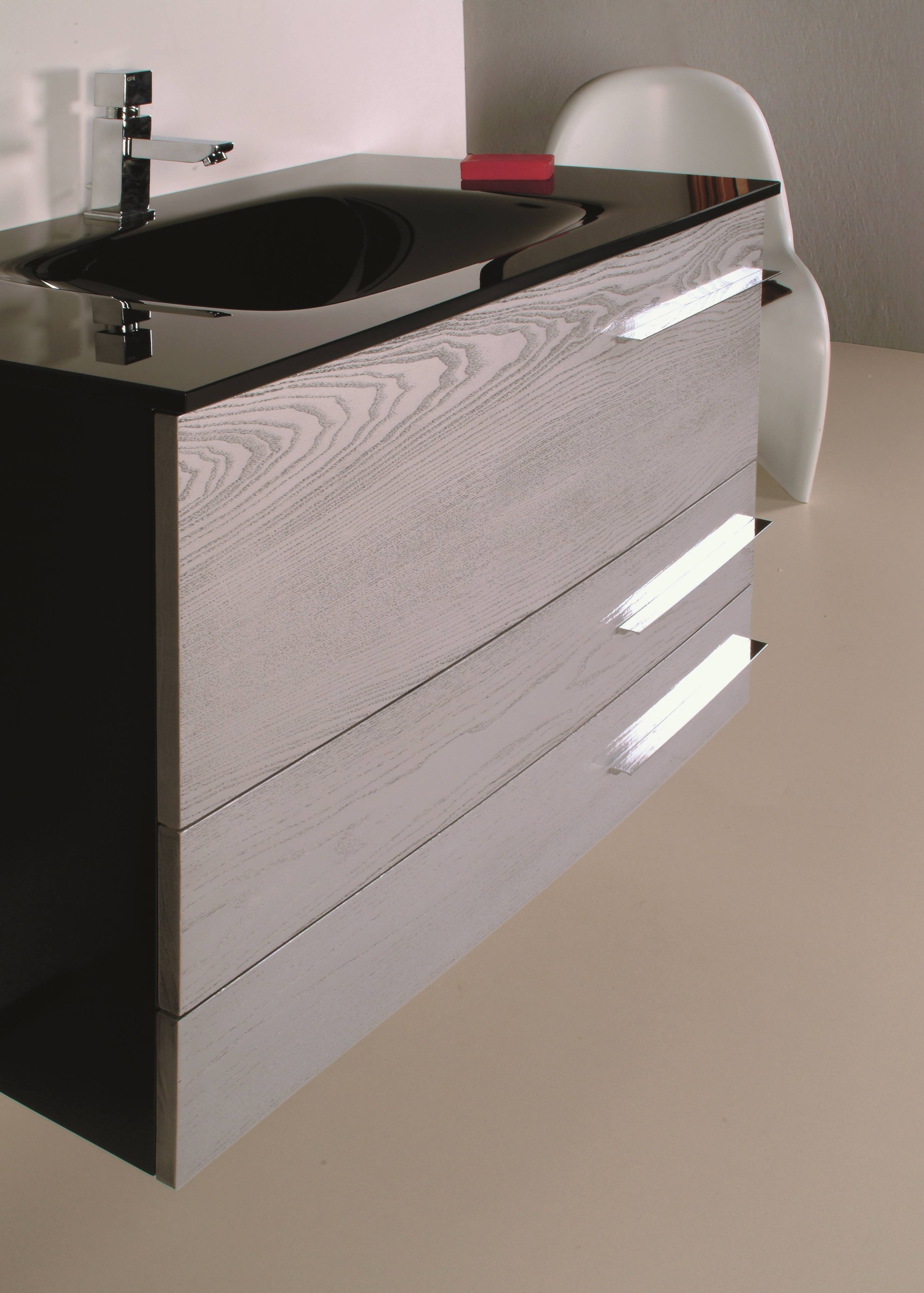 Loft 80 negro fresno plata loft mobiliario ba o - Muebles de lavabo a medida ...