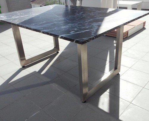 Mesa acero inoxidable con mármol