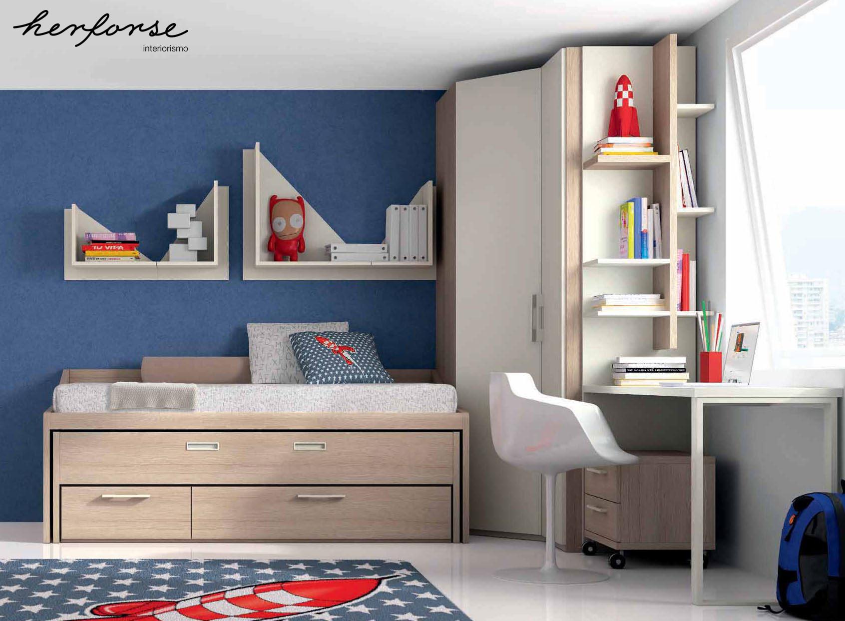 Compactos dobles camas juveniles herforseinteriorismo for Sofas para habitaciones juveniles