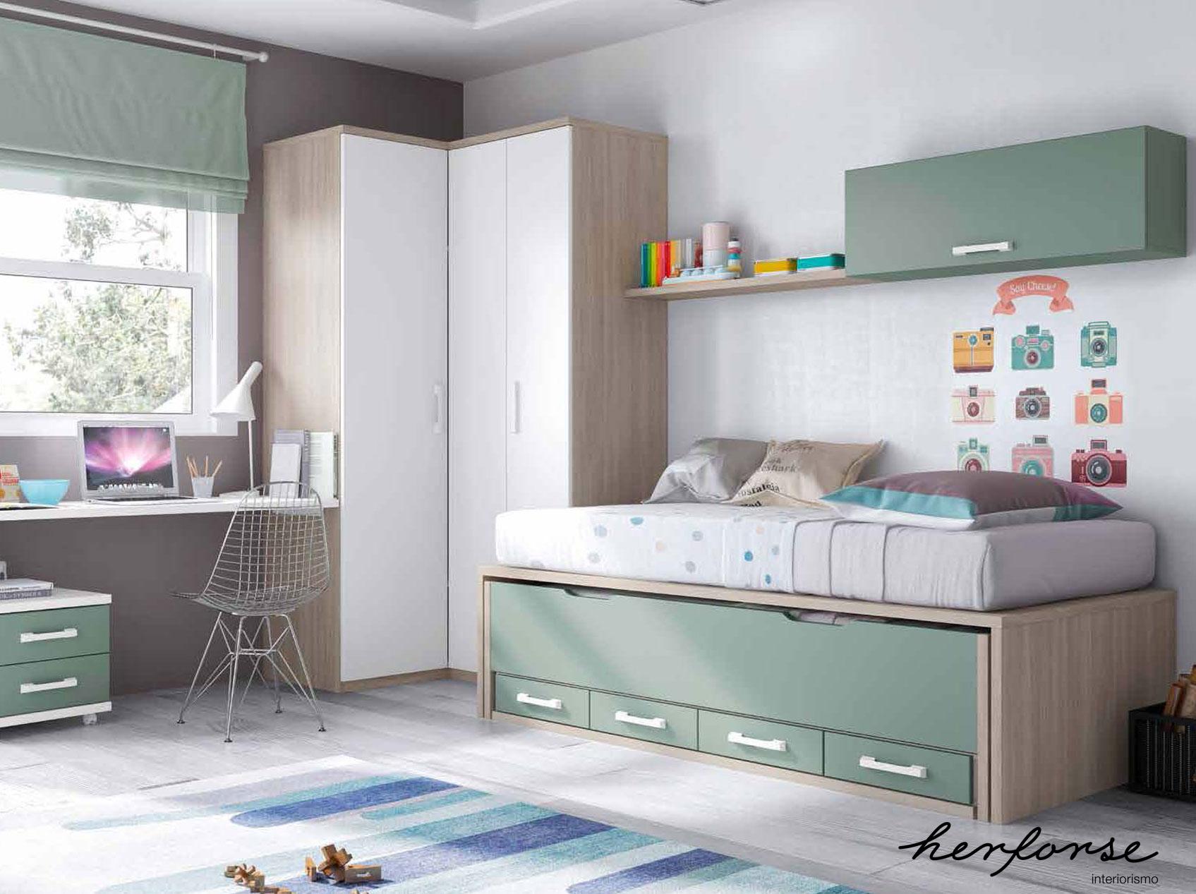 Compactos dobles camas juveniles herforseinteriorismo for Habitaciones compactas