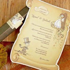 invitación caja pergamino