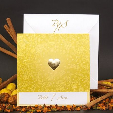 invitación corazón dorado