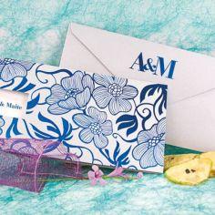 invitación flores azul