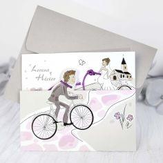 invitación novios en bici
