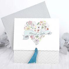 invitación corazón de flores