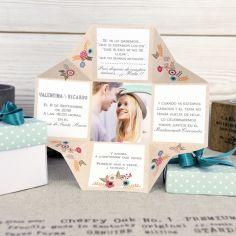 invitación caja flores