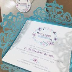 invitación flores corte láser