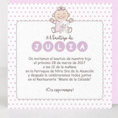 """invitación """"lunares rosa"""""""