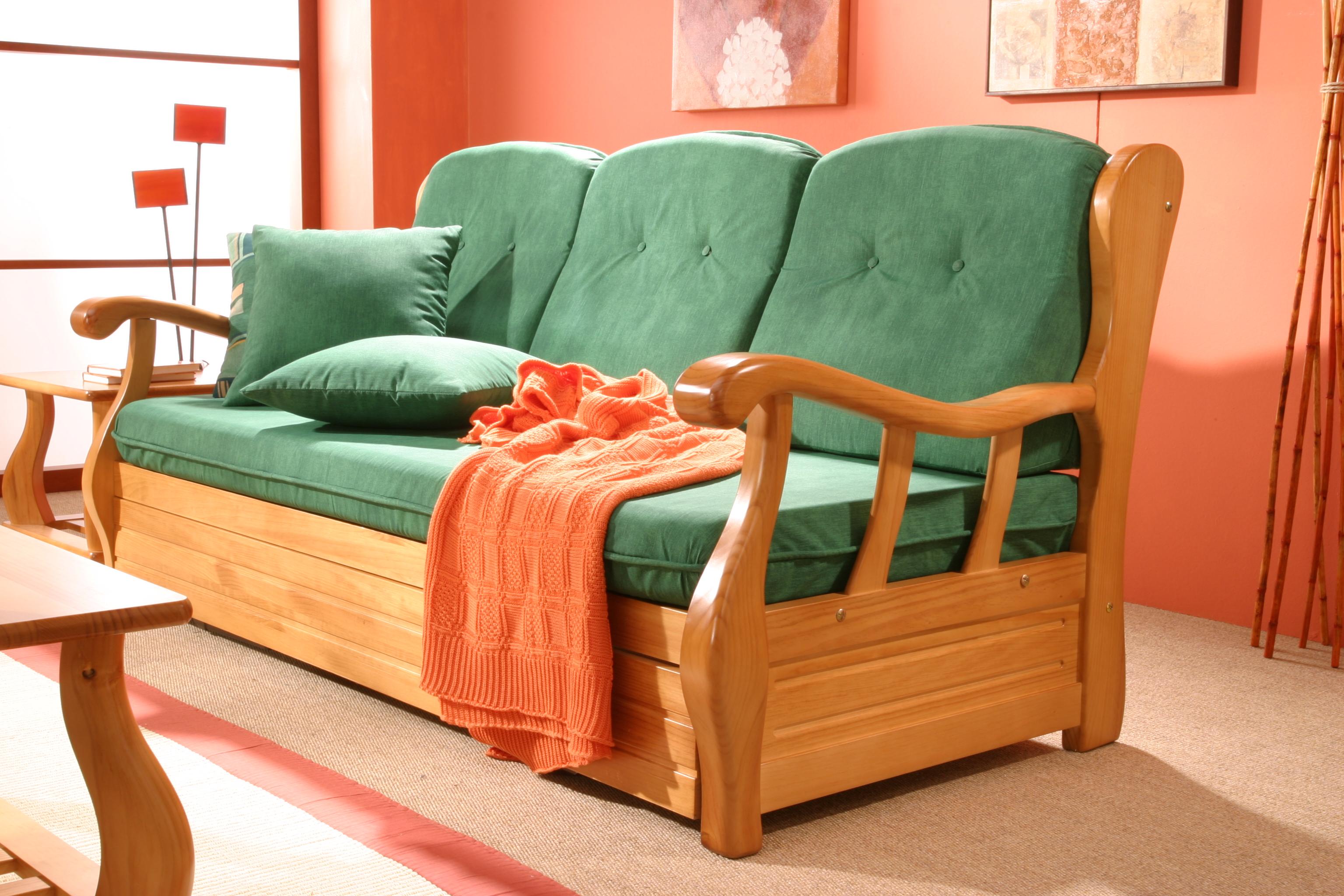 Sof s pino r stico muebles macareno for Sofa de madera para terraza