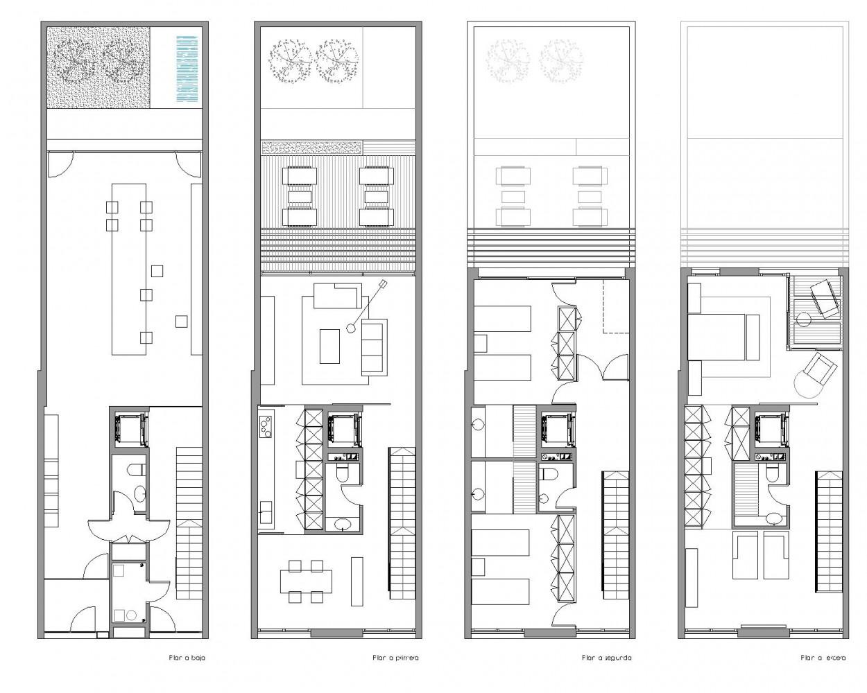 Vivienda medianera al1 residencial nu o arquitectos - Distribucion casa alargada ...